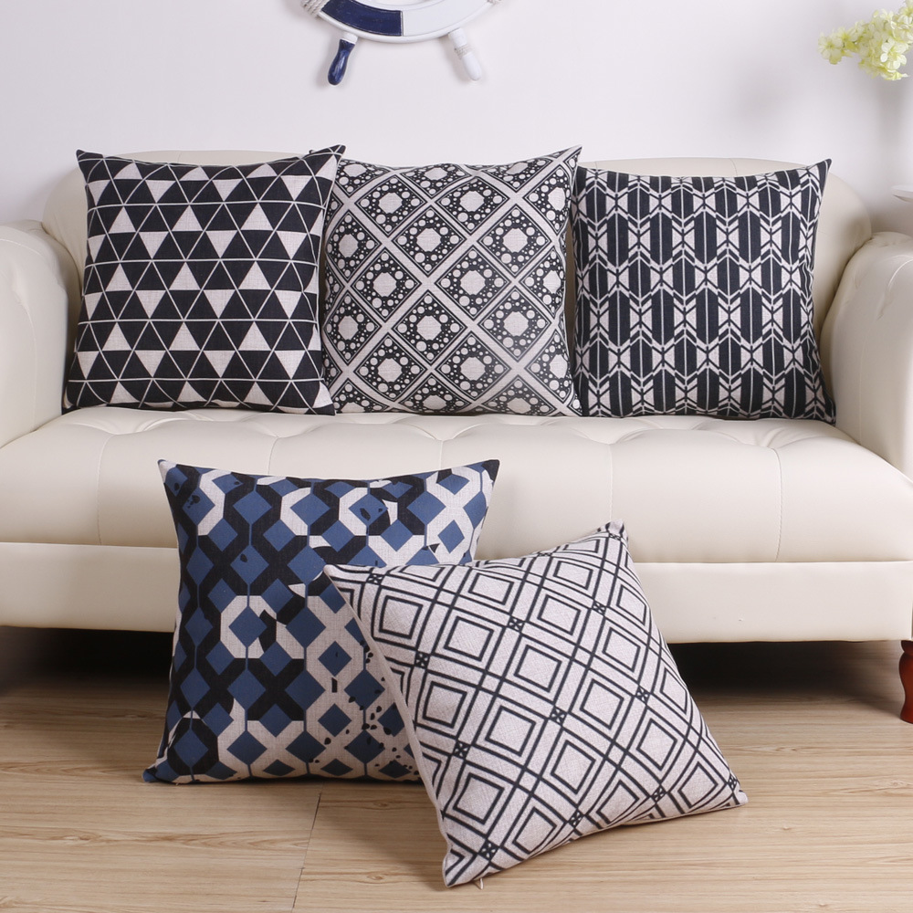 Free Delivery! Black And White Geometric Simple, Modern <font><b>Scandinavian</b></font> <font><b>Decor</b></font> Cushion Cover <font><b>Home</b></font> <font><b>Decor</b></font>