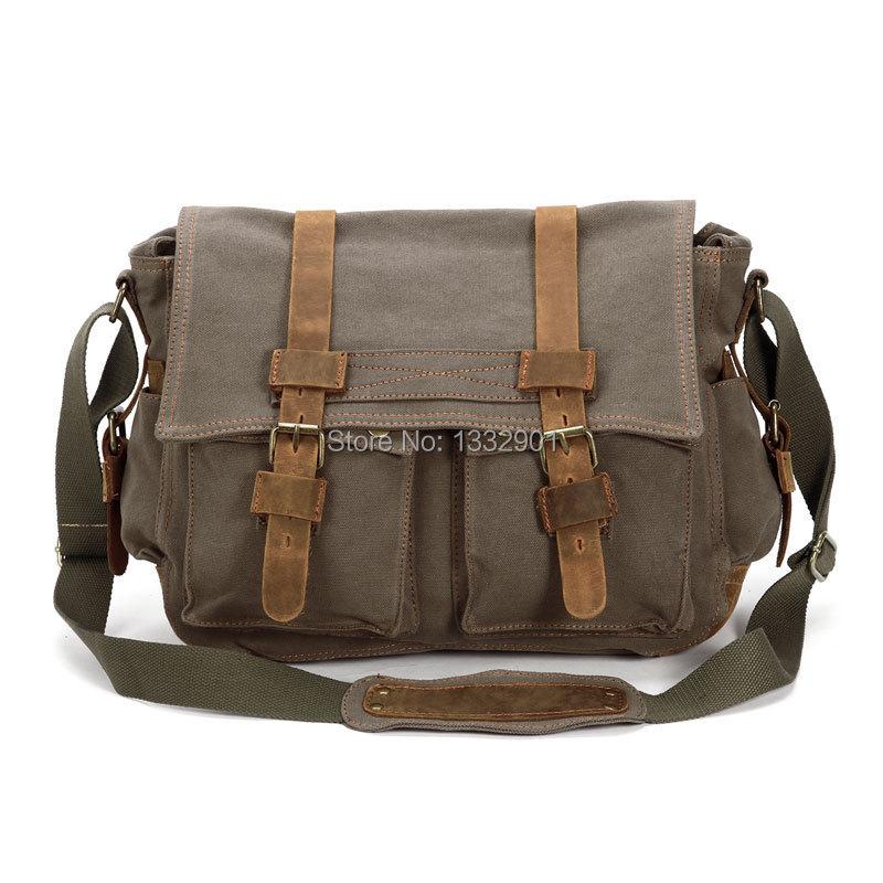 Mens Vintage Canvas Leather Satchel School Military Shoulder Brown Messenger Bag(China (Mainland))