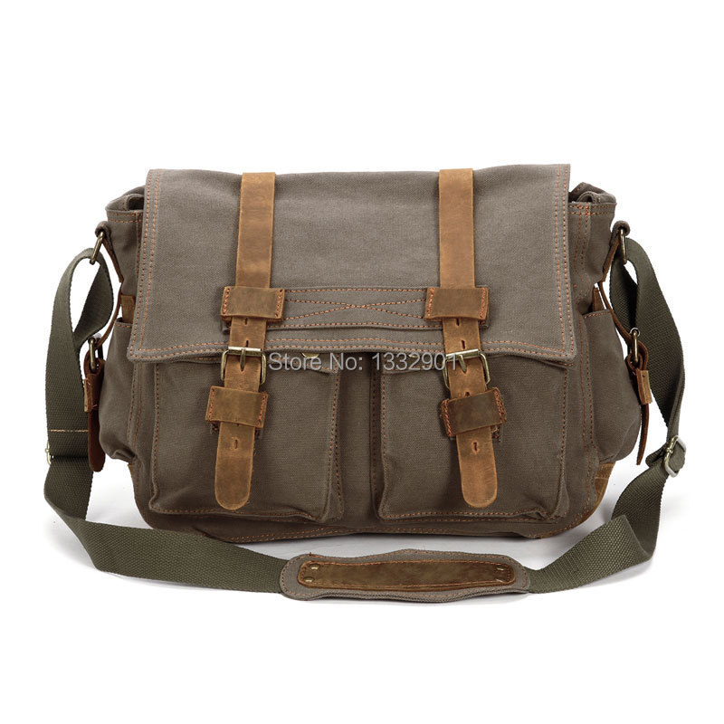 Mens Vintage Canvas Leather Satchel School Military Shoulder Brown Messenger Bag(China (Mainland))