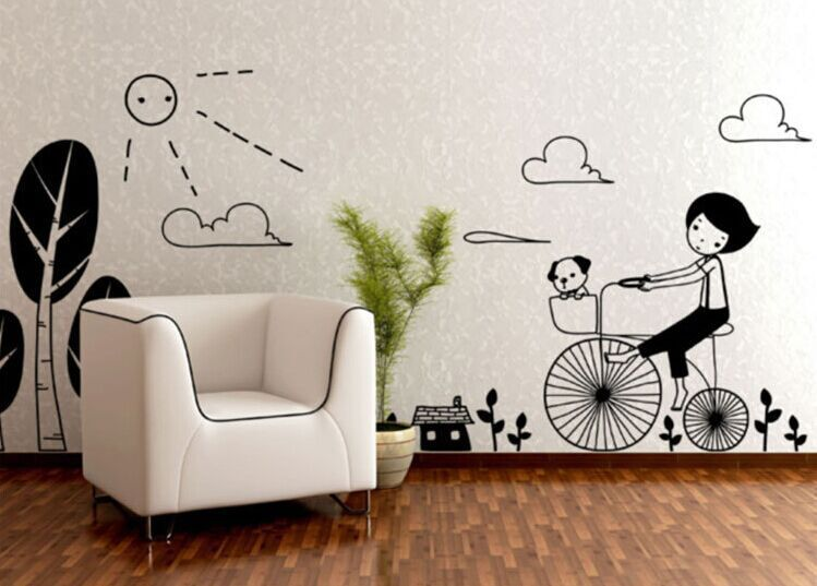 Cute Black Wall Decor : New arrival black cute bicycle girl dog wall stickers kids