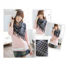 Fashion Black / White Plaid Cotton Women Men Arab Scarf Shawl Shemagh Chequered Warm Supplies For Winter