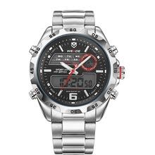 Weide WH-3403 Men ' s Casual acero inoxidable analógico y Digital resistente al agua reloj de pulsera – negro + plata