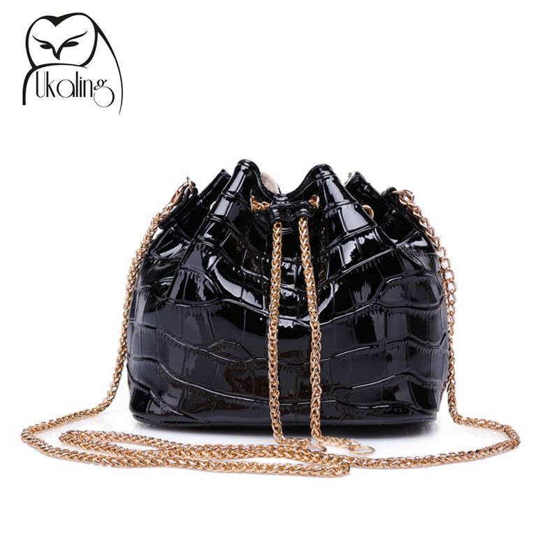 2016 Mini Candy Color Summer Bag for Women Cross Body Bags Clutch Purse Ladies Small Bucket Handbag Patent PU Long Chain(China (Mainland))