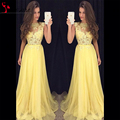 Trendy Yellow lace appliques Evening Dress 2016 custom made chiffon cheap Prom Dresses sheer A Line
