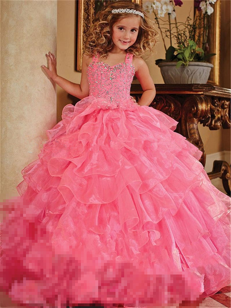 Luxury Hot Pink Little Girl Pageant Dresses With Crystals Beaded Ruffles Organza Ball Gown Flower Girls Dress For Weddings(China (Mainland))