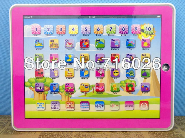 Spanish Language Y-pad Early Ypad Early Learning Machine Spain Touch Computer PC Tablet Toy For Children Baby Kids Gift