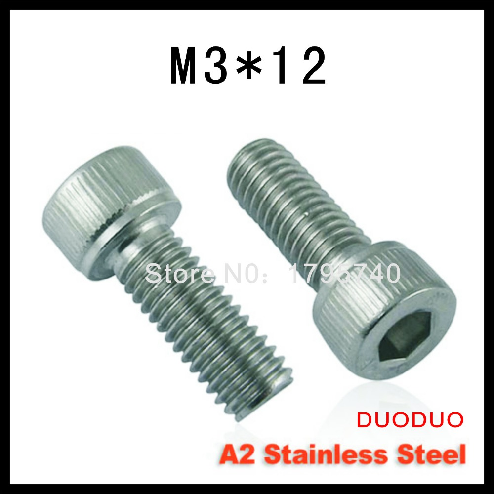 500pc DIN912 M3 x 12 Screw Stainless Steel A2 Hexagon Hex Socket Head Cap Screws<br><br>Aliexpress