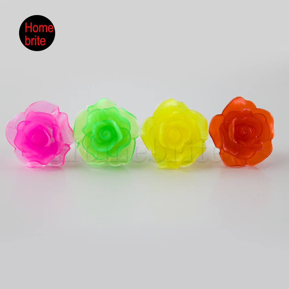 Flower Flashing Party Finger Rings Sparkling Rose Light UP Event Wedding Supplies Set Of 4 PT030(China (Mainland))