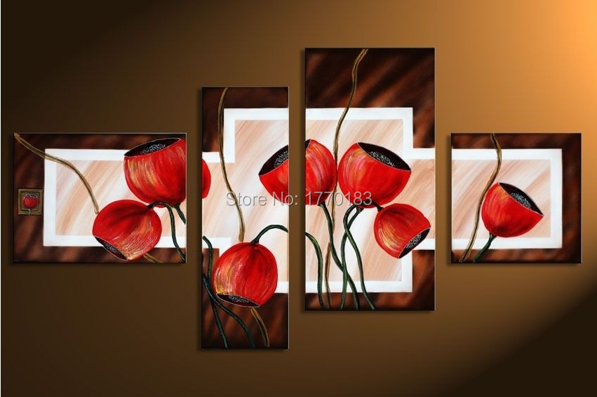 hand painted 4 piece modern abstract canvas oil painting red poppy blossom decorative picture for living room furniture(China (Mainland))