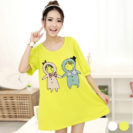 Ladies Plus Size Wowomen Tops Shirts Xl Cotton Long Tees O-Neck Yellow Character Vintage Half Sleeve 2016 New Tops T-Shirt<br><br>Aliexpress