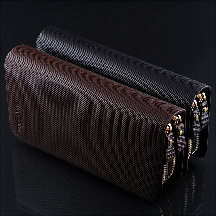 New 2014 Fashion men's clutch wallet with double zipper , the genuine leather business purse black and coffee color M11(China (Mainland))