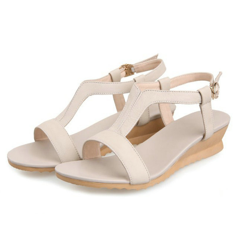 Гаджет  2014 Fashion women genuine leather sandals female wedges shoes high-heeled shoes Women