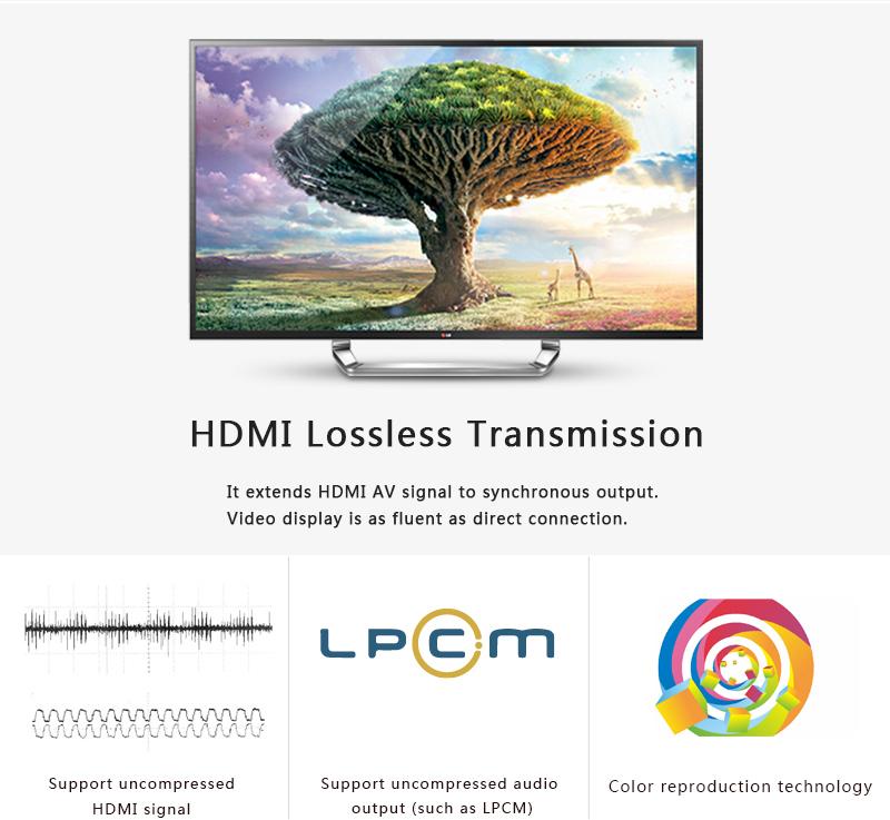 ถูก LKV372Pro HDMI extender 1080จุดHDMIสัญญาณไม่เกิน60เมตร/196ftกว่าเดี่ยวCAT6สายเคเบิลเครือข่ายHDMI Extender w/ห่วง-ออกและIRไม่มีแพ็คกล่อง
