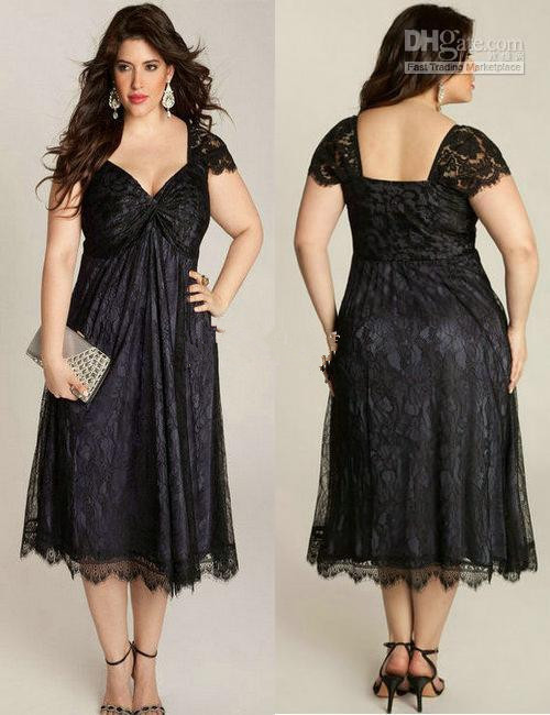 2015 Short Sleeve Black Lace Tea Length Short Plus Size