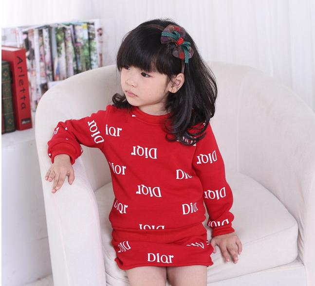 New  Autumn winter Childrens clothing Baby Girl Printed Letter Hoodie Top Coat + Skirt Kids Two Pcs Set / black  red<br><br>Aliexpress
