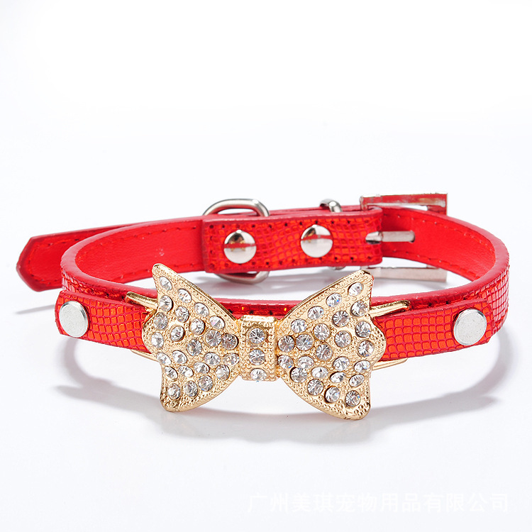 New Hot Pretty Lovely Blue Dog Collar Bling Bling Rhinestone Bowknot Pet Collar Puppy Necklace Gift(China (Mainland))