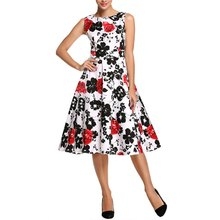 New Women Summer Floral Print Retro Vintage 50s 60s Casual Party Rockabilly Pinup Dresses Ladies Swing Elegant Dresses Plus Size(China (Mainland))