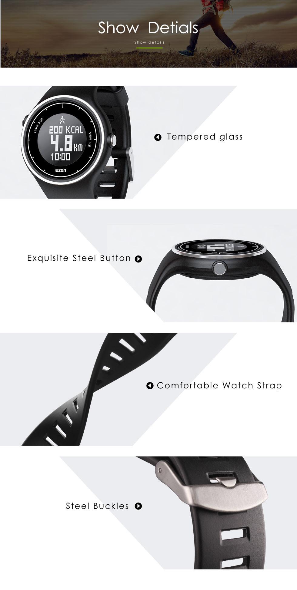 EZON многофункциональный smart casual спорта водонепроницаемый электронные часы качества мужчины бег шагомер Bluetooth часы F1