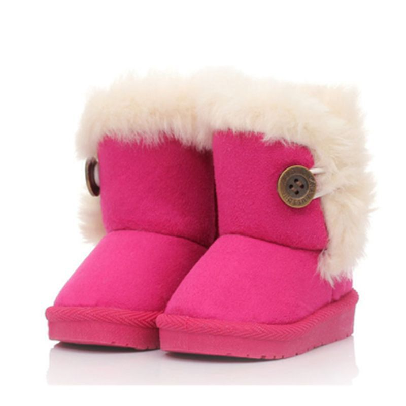 2016 new children snow boots kids winter shoes girls boys warm fur bottons baby ankle rubber - Alice's Cosy Life Store store