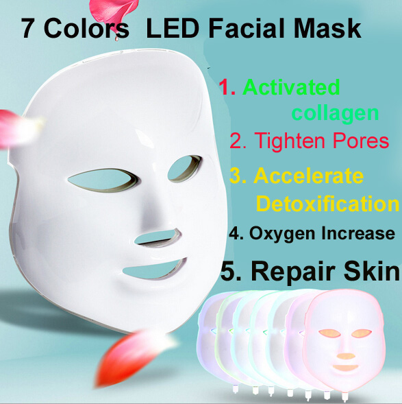 2016 Hot Photon LED Facial Mask Skin Rejuvenation Anti-Aging Beauty Therapy 7 Colors Light for Home Use Beauty Instrument