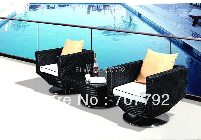 2014 Modern bedroom furniture rattan balcony furniture 2 seater chatting chairs tea table set(China (Mainland))