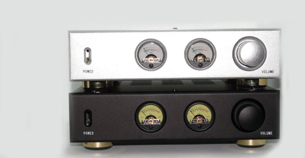 Фотография AV Meter / Black/silver /Merge Amplifier Chassis /Iron aluminum chassis /AMP case Enclosure / DIY amp chassis+ audio vu meter