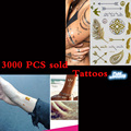 Gold flash tattoos 3000 PCS one time temporary tattoos The human body art design body tattoo