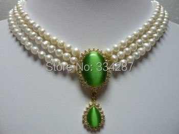 Charm 3 row 6-7mm White  Freshwater  pearl &18GKP opal Cat' s eye Green  pendant Bridal wedding Jewelry necklace