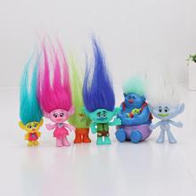 6Pcs/Set 2-6cm Trolls figures Movie Figure Collectible Dolls Poppy Branch Biggie PVC Trolls Action Figures toys children gift(China (Mainland))