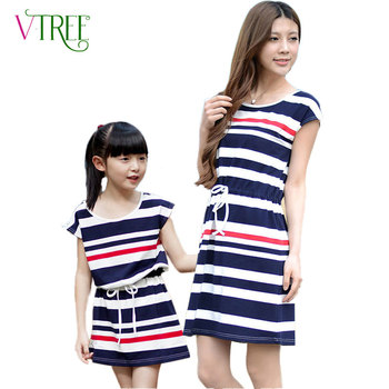Fashion matching mother daughter clothes navy wind striped family dress family outfits cotton dress mother kids dresses
