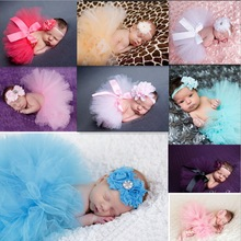 Newborn Tutu Clothes Skirt Baby Girls Knitted Crochet Photo Prop Outfits,baby girls  bubble skirt + Headbands,Girls Bubble Skirt(China (Mainland))