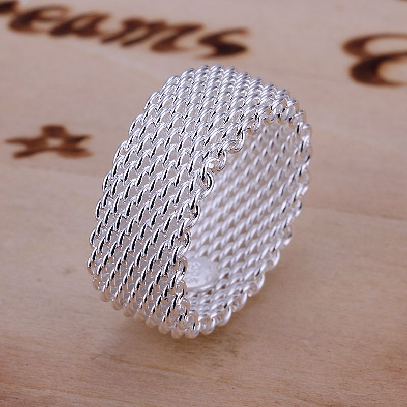 Free Shipping Whole Fashion Jewelry Silver Ring Fine Net Women Men Gift Finger Rings