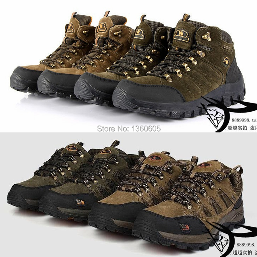 winter outdoor climbing hiking shoes men high-top plus velvet padded non-slip waterproof