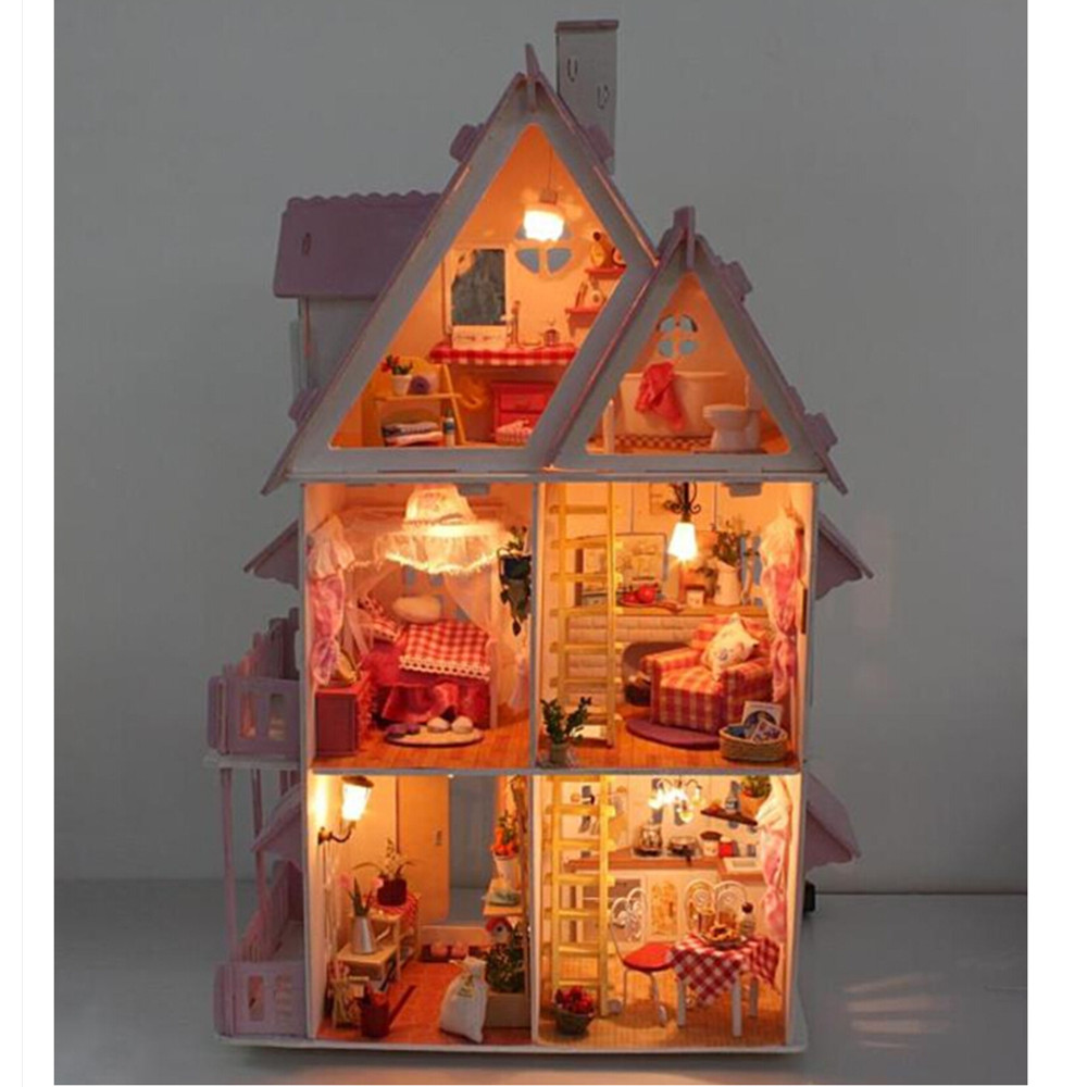 Funny assembling diy miniature model kit wooden doll house for Africa express presents maison des jeunes