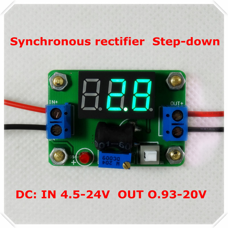 DC-DC Step-Down Synchronous rectifier Adjustable Supply Power Module with Green LED Voltmeter/ Button Switch [4 piece/lot](China (Mainland))