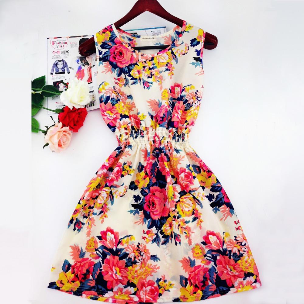 2015 summer autumn vestidos new Korean Women casual Bohemian floral leopard sleeveless vest printed beach chiffon dress WC0344(China (Mainland))