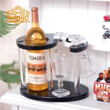 1:12 Dollhouse Miniature Kitchen Wine Bottle + Rack + Cup Set Pretend Bar Furniture Accessories