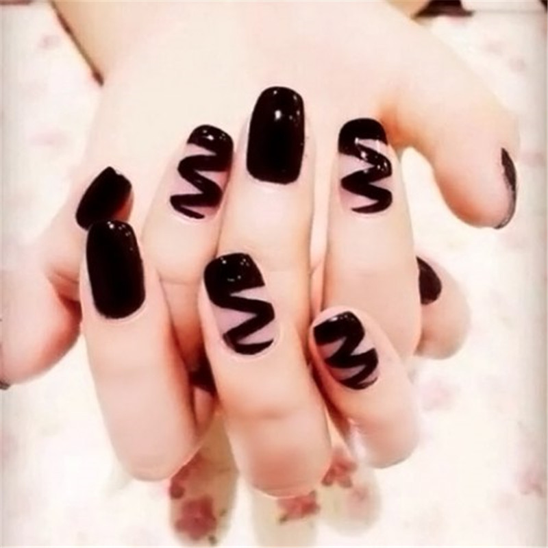 24pcs punk style hippie nail tips black wave pattern solid. Black Bedroom Furniture Sets. Home Design Ideas