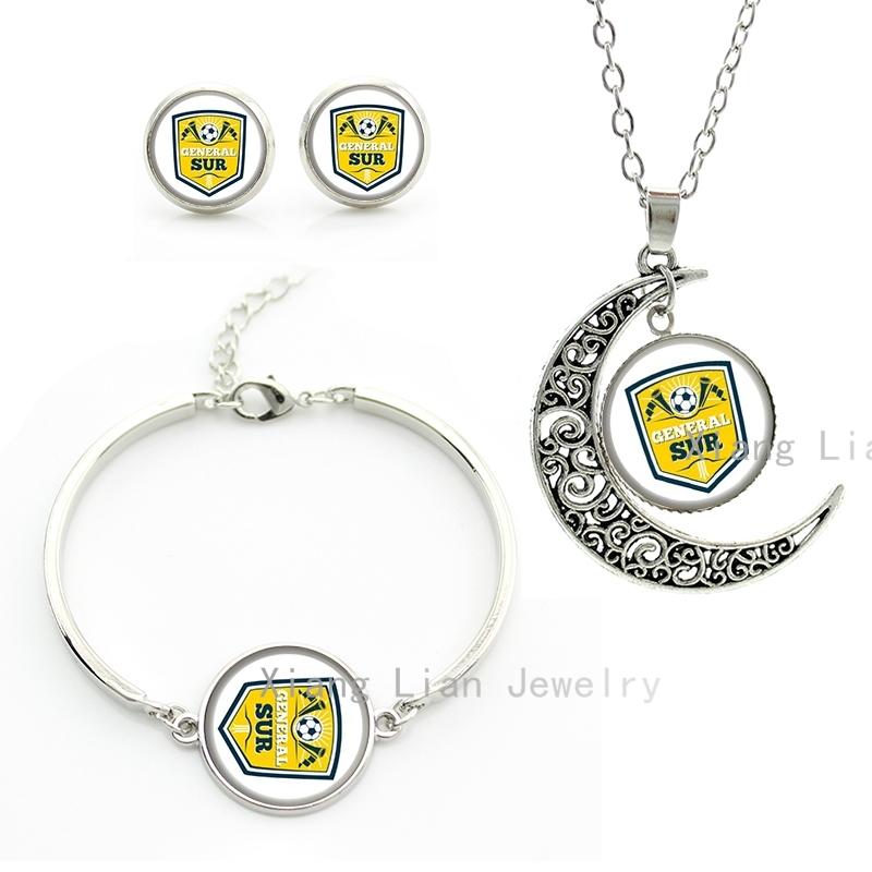 Aliexpress.com Comprar 2016 Última moda equipo de fútbol eneral sur luna colgante collar pendientes pulsera joyería conjunto plateado rugby regalo NF024 de