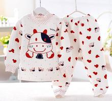 hot selling 2016NEW Panda shaped Lovely Boy girl Pure cotton underwear suits,winter baby,children Keep warm 3color gifts buttons(China (Mainland))