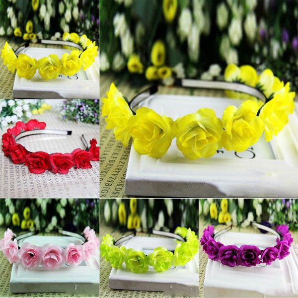 Kids Baby Girls Floral Flower Headwear Headbands Crown Wreath Hair Decor Hairbands PY Free Shipping(China (Mainland))