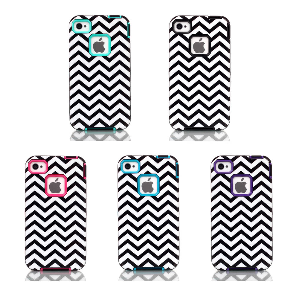 For Apple iPhone 4 4S Case Black and White Wavy Lines Design Case 3in1 High Impact Heavy Duty Hard Rugged Rubber Case Cover(China (Mainland))