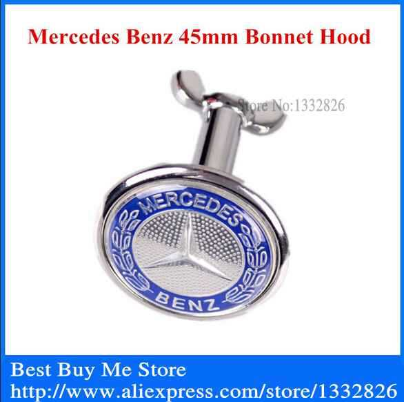 New Mercedes Benz 45mm W203 W202 W208 W210 Flat Front Hood Bonnet Emblem Badge Origin Blue Color Free Shipping(China (Mainland))