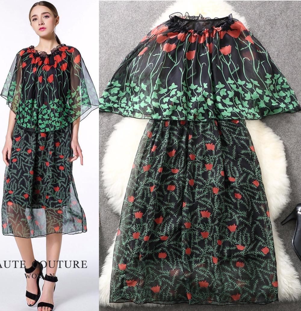 2016 spring clothes women new catwalk models with high-definition digital printing blouse + vest bottoming dress L6050Одежда и ак�е��уары<br><br><br>Aliexpress