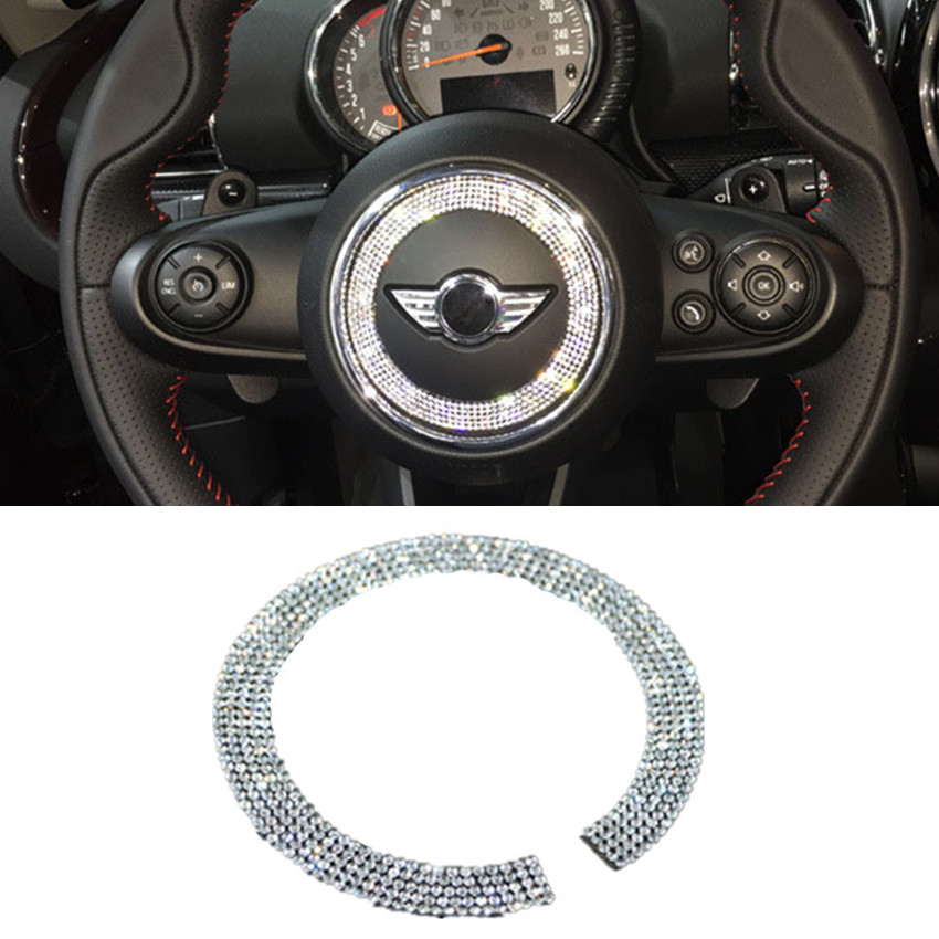 1Pcs Fashion Silver Crystal Diamond Steering Wheel Decoration Ring 3M Protection Stickers For BMW Mini F54/55/56 Car Styling(China (Mainland))