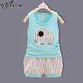 New Summer Baby Boys Brand Clothing Sets Cartoon Little Elephant Striped Print Sleeveless Vest Shorts Kids