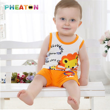 Cartoon Baby Boy Summer Clothes Sleeveless Vest + Shorts Toddler Boys Clothing Soft Cotton Toddler Girl Clothing Ensemble Fille(China (Mainland))
