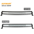 Auxmart 32inch 300w 5D LED light bar Offroad curved straight combo beam bar light for truck