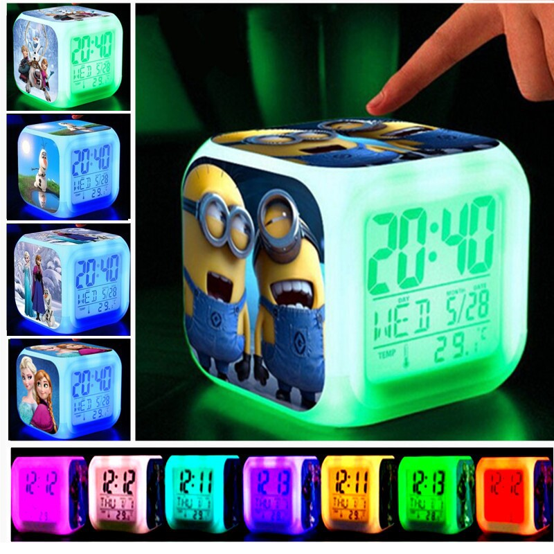Baby toy Action Figure LED 7 Colorful flash Touch lights Minion Pokemon Anna Elsa Olaf Clock Action & Toy Figures Children gift(China (Mainland))