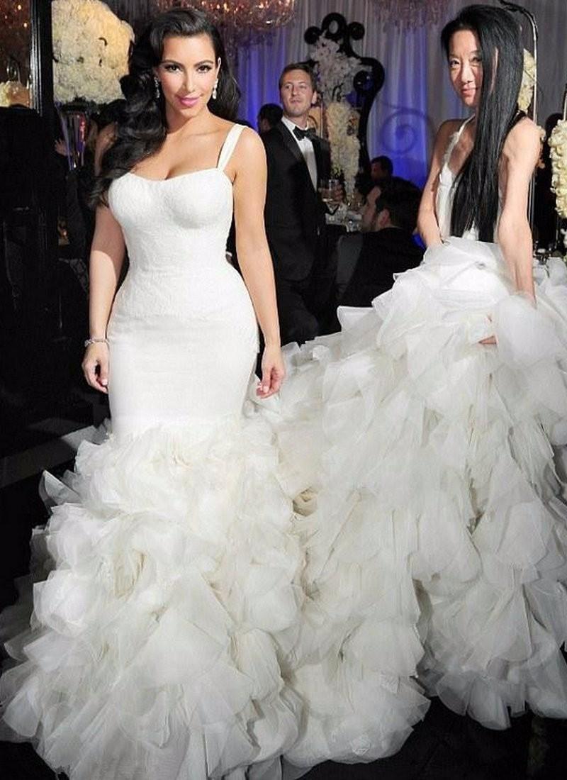 Good design wedding dress with long train white mermaid for White wedding dresses with long trains